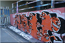 TQ3179 : View of street art on the Station Approach Road ramp next to Leake Street #2 by Robert Lamb