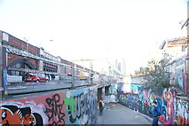 TQ3179 : View back down into the tunnel from the end of Leake Street by Station Approach Road by Robert Lamb