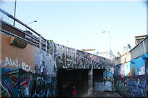 TQ3179 : View back into the tunnel from the end of Leake Street by Station Approach Road #2 by Robert Lamb
