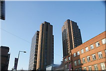 TQ3179 : Looking up at the office blocks on Sandell Street from Waterloo Road by Robert Lamb