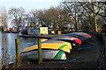 TQ3187 : Upturned boats, Finsbury Park boating lake by Julian Osley