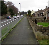 ST6976 : Slightly elevated pavement, Pucklechurch by Jaggery