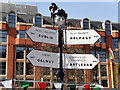 SJ8398 : Manchester Irish Festival, Signs in Albert Square by David Dixon