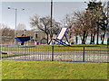 SD8010 : Giant Garden Furniture on Peel Way/Jubilee Way Roundabout by David Dixon