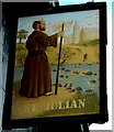 ST3389 : St Julian name sign, Newport by Jaggery
