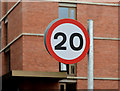 J3474 : 20 mph sign, Edward Street, Belfast (March 2016) by Albert Bridge