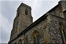 TG2834 : Trunch, St. Botolph's Church: The four stage 95ft high tower by Michael Garlick