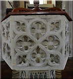 TG2834 : Trunch: St. Botolph's Church: The font bowl carved with plain tracery (ca. 1350) by Michael Garlick