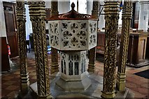 TG2834 : Trunch: St. Botolph's Church: The font (ca. 1350) by Michael Garlick