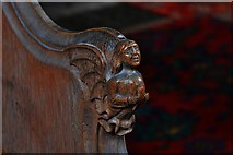 TG2834 : Trunch: St. Botolph's Church: Carving in the choir stalls 3 by Michael Garlick