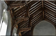 TG2834 : Trunch: St. Botolph's Church: Mid c15th single hammerbeam roof 3 by Michael Garlick