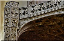 TG2834 : Trunch: St. Botolph's Church: The oak font canopy (ca. 1500) 4 by Michael Garlick