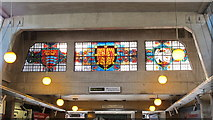 TQ0584 : Uxbridge tube station - stained glass windows by Mike Quinn