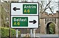 J2285 : Direction sign, Templepatrick (April 2016) by Albert Bridge