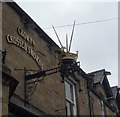 NZ0952 : Sign for the Crown & Crossed Swords Hotel, Consett by JThomas