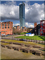 SJ8397 : New, Overlooking the Old in Manchester by David Dixon