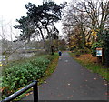 SO8454 : Jogger on a riverside path, Worcester by Jaggery
