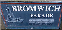 SO8454 : Severn trow depiction, Bromwich Parade, Worcester by Jaggery