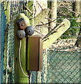 TG1608 : Telephone extension box on the gatepost by Evelyn Simak