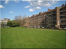 TQ3378 : Three blocks of the Kinglake Estate fronting Surrey Square Park, Walworth by Robin Stott