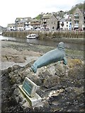 SX2553 : Nelson the seal and the entrance to Looe harbour by Philip Halling
