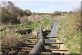 SJ2176 : Drainage water at Dee Bank Quay by Jeff Buck