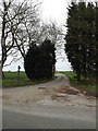 TM0757 : Entrance to Creeting Hall & footpath to the B1113 Stowmarket Road by Adrian Cable
