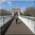 SK5737 : Love locks on the Suspension Bridge by John Sutton