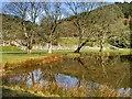 SO0571 : Lake and Ruined Abbey at Abbey-Cwm-Hir by David Dixon
