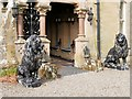 SO0571 : Lions outside The Hall at Abbey-Cwm-Hir by David Dixon