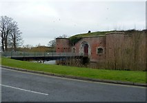 SU5902 : Fort Brockhurst - Bridge over the moat by Rob Farrow