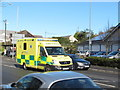SW8144 : Emergency ambulance in traffic, Highertown, Truro by David Hawgood