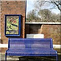 SK0294 : Mural and bench at Dinting by Gerald England