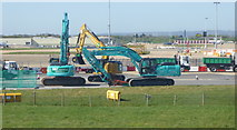 TQ2740 : Construction work to taxiway at Gatwick Airport by Rod Allday
