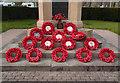 SO0451 : War memorial wreaths, Builth Wells by Julian Osley