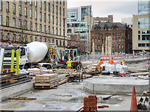 SJ8397 : Construction of New Tram Stop at St Peter's Square, April 2016 by David Dixon