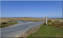 SS2620 : Road junction on Bursdon Moor, Devon by Roger  Kidd