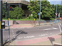 TQ0975 : Pedestrian crossing on Great South-west Road/Hatton Road South filter lane by Andrew Tatlow