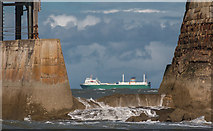 NZ8911 : Ship Passing West Pier, Whitby, Yorkshire by Christine Matthews