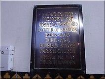 SJ8745 : Stoke Minster: wall memorial (1) by Basher Eyre