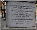 ST3188 : Late 20th century inscription on a 19th century statue pedestal in Newport city centre by Jaggery