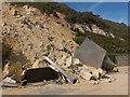 SZ0990 : Bournemouth: toilets demolished by a landslip by Chris Downer