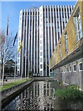 TQ3296 : The New River in front of Enfield Civic Centre, Silver Street, EN1 by Mike Quinn