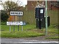 TM1551 : Church Farm Lane & Henley signs by Geographer