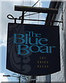 TM5295 : Sign for the Blue Boar, Oulton  by JThomas