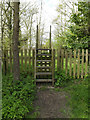 TM1857 : Stile on the footpath to Ipswich Way by Adrian Cable