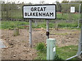 TM1250 : Great Blakenham Village Name sign on Gipping Road by Adrian Cable