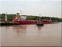 SJ3681 : Tanker Leaving the Queen Elizabeth II Oil Dock at Eastham by David Dixon