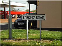 TM0954 : Barking Road sign by Adrian Cable