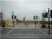 TQ3884 : Road crossing linking Westfield shopping centre with the Olympic Park by Christopher Hilton
